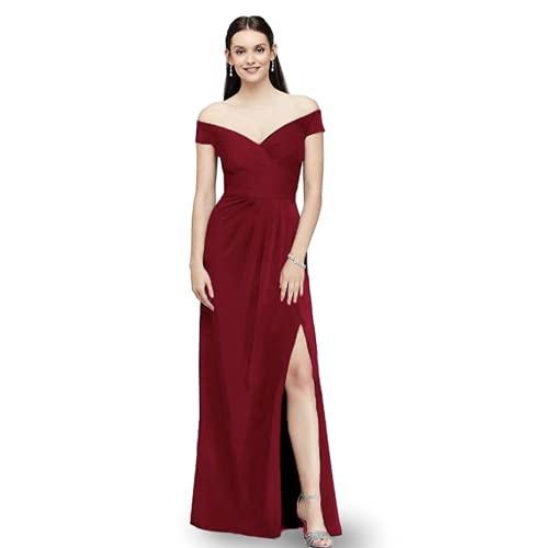 abito donna 46 emmarcon Abito Lungo Elegante Cerimonia Donna Damigella con Spacco Scollatura a cuore-Bordeaux-IT44-46/L