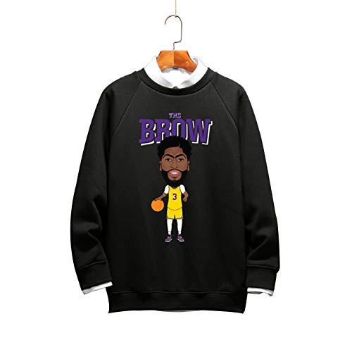 Davis # 3 Lakers - Sudadera de baloncesto con cuello redondo, color negro 1-XXXL