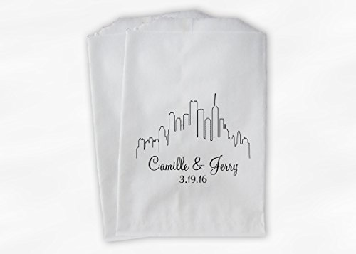 City Skyline Wedding Favor Bags for Candy Buffet in Black and White - Personalized Set of 25 Paper Bags (0159)