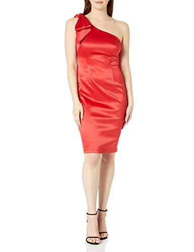 Eliza J Women's One Shoulder Sleeveless Sheath Dress with Bow, Red, 6