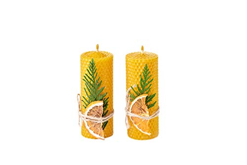 Beeswax Gifts 100% Beeswax Candles Gift Box Set of 2 Scented Pillar Candles (Size 5 x 2 in) for Gift and Home Decor