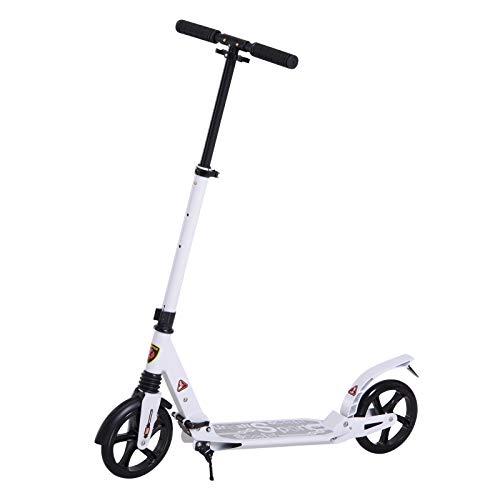 HOMCOM Patinete Plegable Scooter con Manillar Altura Ajustable Patinete para Adultos y Niños (más de 14 años) Tipo Monopatín con Freno Grandes Ruedas Carga 100kg
