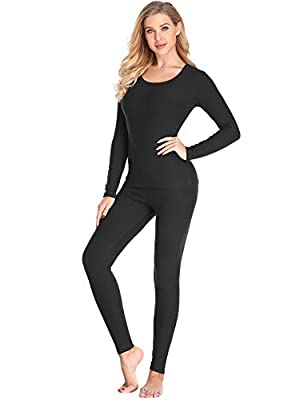 LALAVAVA Lusofie Cotton Thermal Underwear Set for Women Long Johns Set Soft Base Layer (Black,XL)