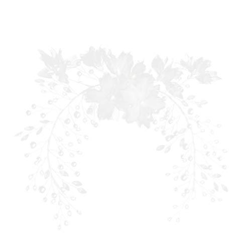 Lurrose Diadema de Boda Diseño de Flores de Seda Pedrería de Cristal...