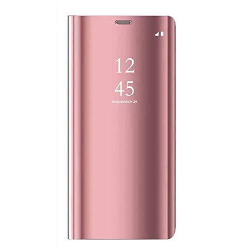 Funda Samsung Galaxy A5 2017 Carcasa Flip Clear View Translúcido Espejo Standing Cover Slim PC+PU Hard Anti-Scratch Fit Anti-Shock Anti-Rasguño Mirror 360°Protectora Cubierta (Oro Rosa)