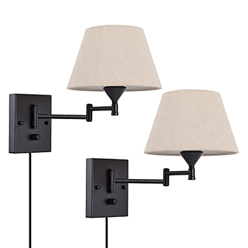 Pauwer Plug in Wall Sconce Set of 2 Swing Arm Wall Lamp with Plug in Cord and Fabric Shade Wall Light Fixtures for Hallway Bedroom Living Room (Beige Shade)
