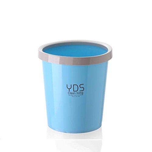 IAIZI Aucune poubelle de couverture, cuisine ronde simple en plastique ronde ménage poubelle 9L (Color : Blue)