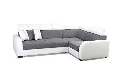 Ecksofa Sofa Eckcouch Couch mit Schlaffunktion und Bettkasten Ottomane L-Form Schlafsofa Bettsofa Polstergarnitur - HOUSTON (Ecksofa Rechts, Grau)