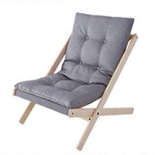 Unknow Chaise Pliante en Bois Moderne, Tabouret de Loisirs Nordique rembourré, canapé inclinable Japonais Paresseux, chaises de Patio, Support de Balcon de Jardin 300 Lbs-Gris-1
