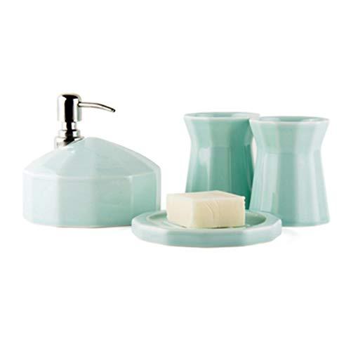 DUOER home Candy Color Bathroom Accessoires Ensemble - Ensemble de Cadeau House de Mariage en céramique 4 pièces Kit de Lavage de Salle de Bain Domestique (Color : Blue)