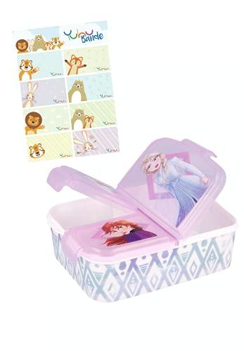 Frozen II – Lunchdoos Brooddoos Kinderlunchbox met 3 afzonderlijk afsluitbare compartimenten + naamstickers voor…