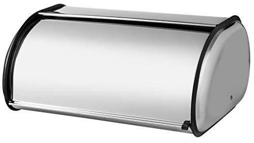 KADAX Brotkasten besteht aus poliertem Edelstahl. Brotbox mit frontklappe. Brotbehälter, Rollbrotkasten, Brotaufbewahrung, eleganten Brotaufbewahrungsbehälters (34x24x15cm)