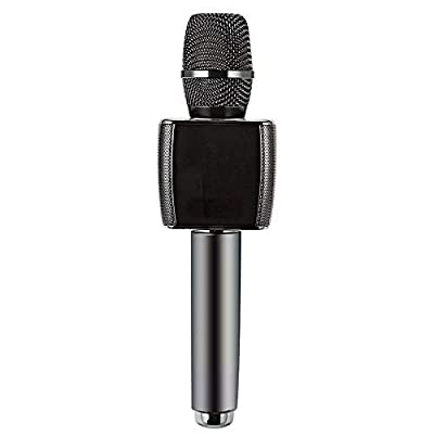 TAESOUW-Electronic Music Mobile Phone Song Microphone Car TV Universal Wireless Bluetooth Microphone Stereo Integrated All-Around Microphone Home, Party Singing (Color : Black, Size : 7x7x26cm)