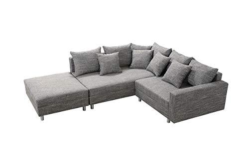 Küchen-Preisbombe Modernes Sofa Couch Ecksofa Eckcouch in Gewebestoff hellgrau mit Hocker Minsk L