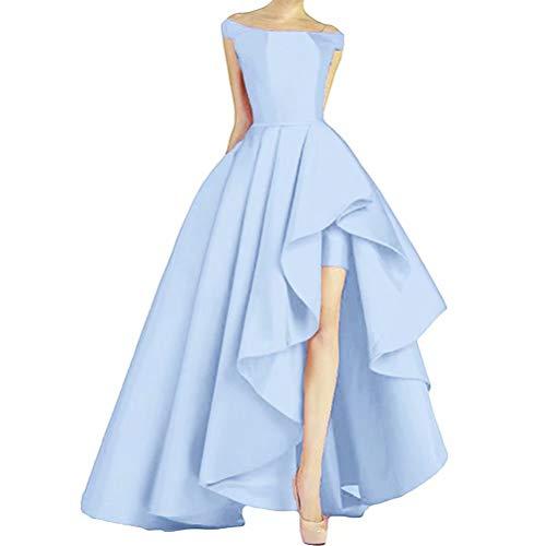 NaXY Damen Abendkleider Lang Elegant Ab-Schulter hoch niedrig Prinzessin Liebsten Asymmetrische Satin Ballkleider Lang Prinzessin Partykleid Sky...