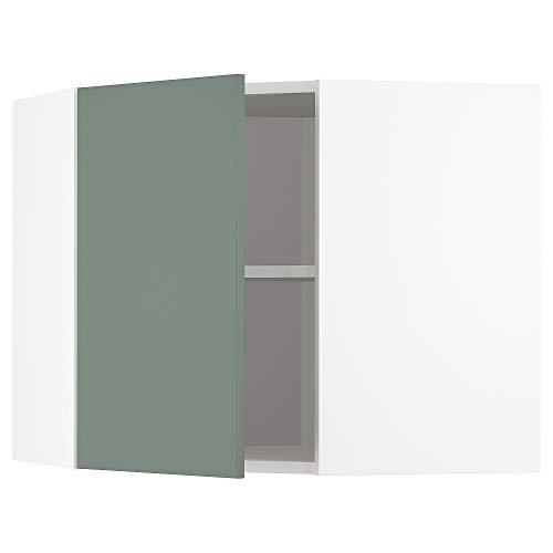 METOD armario esquinero de pared con estantes 67,5x67,5x60 cm blanco/Bodarp gris-verde