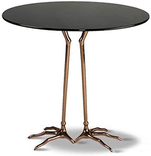 Ccgdgft klassieke bijzettafel moderne ronde gehard glas salontafel met vogel poten tafel benen in woonkamer voor het werken schrijven Home Office Meubels, 50X50X60CM, Zwart