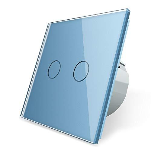 LIVOLO Blaue Serie Lichtschalter Steckdosen Glasblenden Touch für Kinderzimmer Pink Bunt blau Lichtschalter Wandschalter Glasrahmen Glas Blende (Wechsel/Kreuz -Schalter 2 Fach VL-C702S-19)