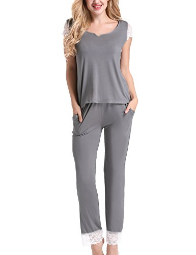 Yulee Womens Plus Size Short Sleeve Pajama Set with Sleep Pants Gray, XXL