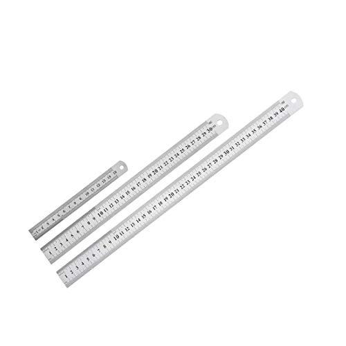 Regla recta de 15 cm, 30 cm, 40 cm, 6 – 16 pulgadas, herramienta de medición de acero inoxidable métrico con agujero de suspensión 3 en 1