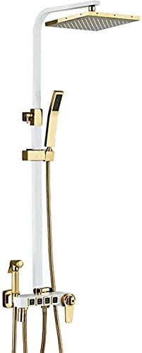 DZCGTP Sistema de Ducha termostático Cuadrado de 9 Pulgadas, Oro Blanco, Salida de Agua de 4 Funciones, Mezclador de Lluvia, Conjunto Combinado de Ducha con Ducha Superior