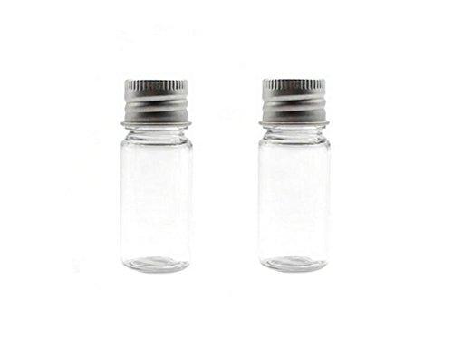 6PCS Empty Clear Travel Portable Refillable Plastic Huiles essentielles Poudres Crèmes Petit bouteille à tarte avec couvercle en aluminium en aluminium (15ml / 0.5oz)