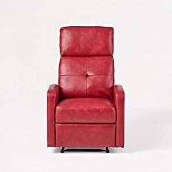 Red Leather Wall Hugger Recliner Club Chair