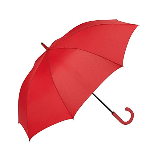 GOTTA Paraguas Largo de Hombre, antiviento y automático con puño Curvo de plástico. Tejido Liso. - Rojo