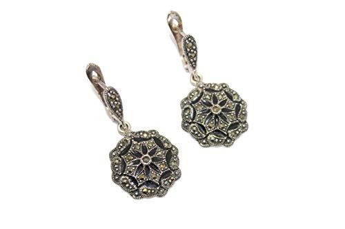 PH - Pendientes colgantes hechos a mano para mujer, plata de ley 925, piedras de marcasita, esmalte M