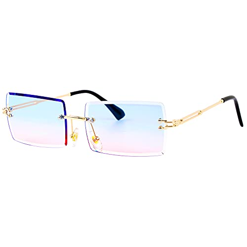 BETESSIN Deko Brille randlos Ohne Stärke transparent Linse Retro Ohne Sehstärke Ohne Rahmen für Frauen Männer Rechteck durchsichtige Linse(Blau-Rosa)