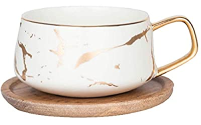 ENJOHOS 10 Oz Ceramic Tea Cup Coffee Cup Set with Wooden Saucer European Golden Hand Cup Saucer Set(White)