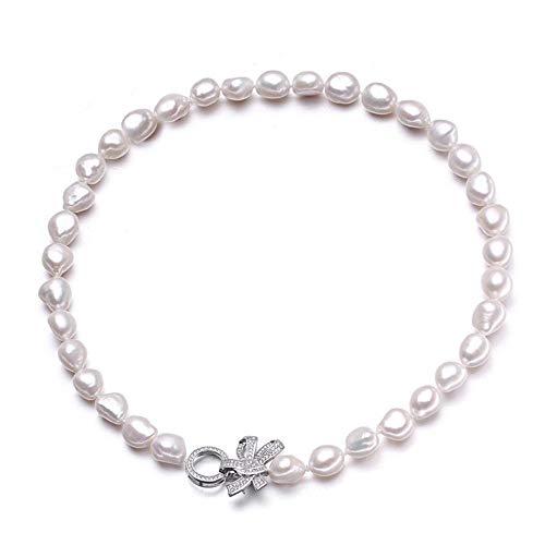 Roapk 10-11Mm Echte Natürliche Süßwasserperlenkette Für Frauen, Schöne Barocke Große Perle Necklce-White_45Cm