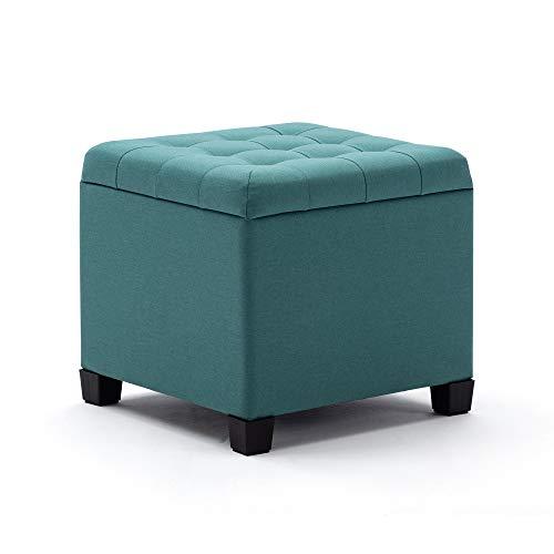 HNNHOME Sitzwürfel, Fußhocker, Ottomane, Aufbewahrungsbox, 45 cm, starker Holzrahmen, Leinen, Wohnzimmer-Fußhocker, Spielzeugkiste, Ankleidehocker, Stuhl mit Deckel für Schlafzimmer (hellgrün)