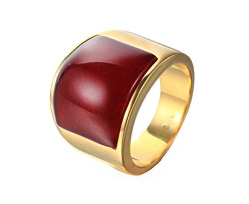 HIJONES Joyería Hombres Mujeres Mosaico Ojo de Gato Piedra Acero Inoxidable Ópalo Anillos Amplio Oro Rosa Roja Talla 22