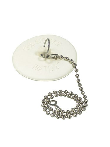 DANCO Rubber Tub Stopper with Chain, White (80783)