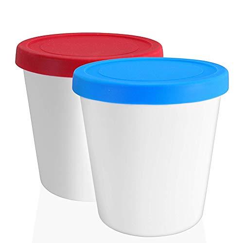 LIN Aufbewahrungsbehälter für Speiseeis mit Deckel 2 Stück - 1L runde wiederverwendbare BPA-frei Eisbehälter für Gefrierschrank für hausgemacht Eis, Sorbet, frozen Joghurt und allgemeine Lebensmittel
