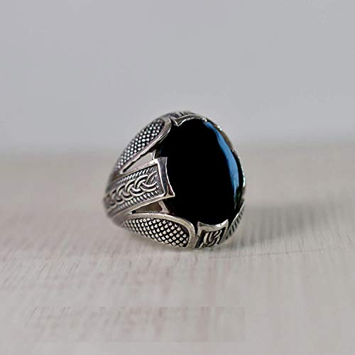 925K Sterling Silver Ring, Oval Cab, Black Onyx Gemstone Ring, Handmade, Statement Jewelary, Oxidized Arabic Design, Celtic, Beaded Ring, Natural Black Onyx Gemstone, Men's, Boys, Father's Day Gift