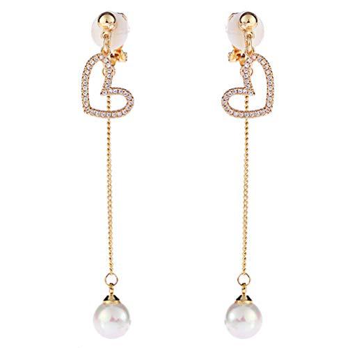 Orecchini a clip pendenti con ciondolo a forma di cuore, con strass e perle finte, da donna, per orecchie non forate