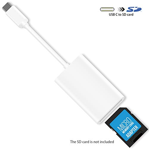 USB C SD Card Reader, HUIRID USB Type C to SD Card Camera Reader Adapter Compatible with 2018 iPad Pro, Google Pixel 3/2/XL (Import Only, Not Output) (White)