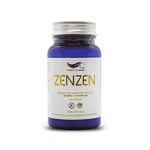 Zenzero E Vitamina B6 Capsule - Integratore Antidolorifico Naturale Anti Nausea, Vomito, Aiuta La Digestione Difficile, Sollievo Allo Stomaco Antiossidante Anche Bambini Un Mese Di Trattamento