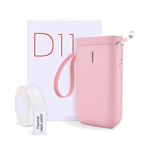 Máquina etiquetadora con Cinta, inalámbrica Bluetooth, portátil, Mini Impresora de Etiquetas de Mano, Compatible con iOS y Android, para el hogar y la Oficina (Rosa)