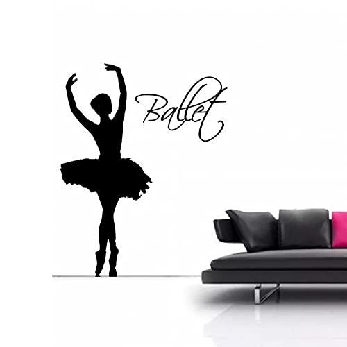 Bailarina de ballet silueta arte de la pared calcomanía giratoria pegatina calcomanía vinilo transferencia mural decoración de la habitación 44x57cm