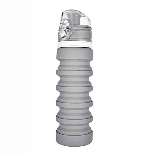 XHHWZB Zusammenklappbare Wasserflasche - BPA-frei, auslaufsicher, leicht 20oz Eco-Friendly Wiederverwendbare Silikon Reise Sport Camping Wasserflasche von Que Flasche (Farbe : Gray)