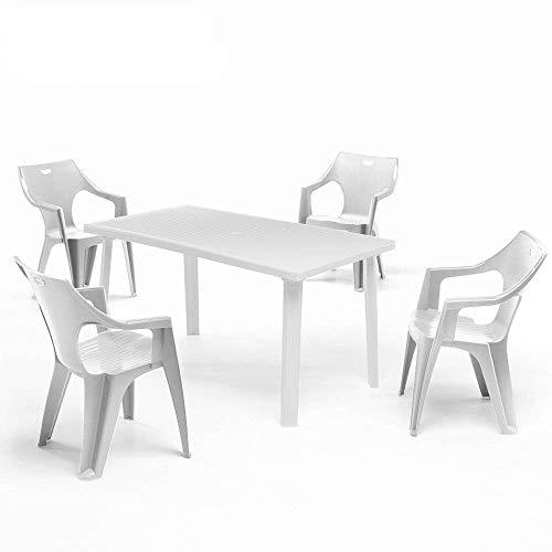 ガーデンテーブルセット ドミンゴ ガーデンテーブル&クレタ チェアー 5点セット ホワイト(プラスチック 軽量 屋外 イス テーブル イタリア製)