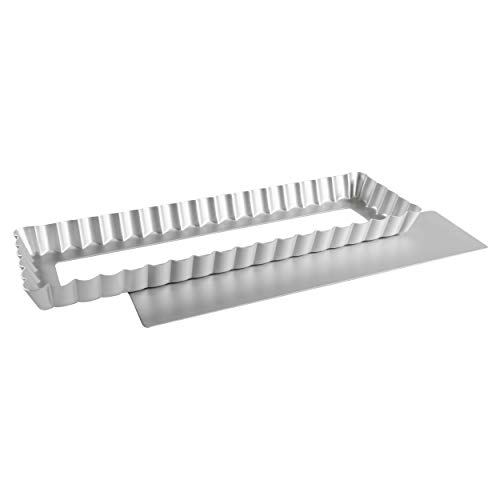 Fat Daddio's Anodized Aluminum Rectangle Tart Pan, 13.75 Inches by 4.25 Inches by 1 Inch