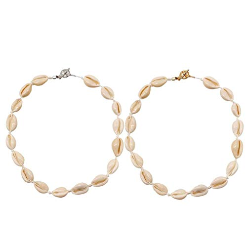 Yililay Shell Simple Manera del Collar de clavícula Cadena de la joyería de Bohemia Shell Collar de Estilo para Las Mujeres 2pcs de Chicas
