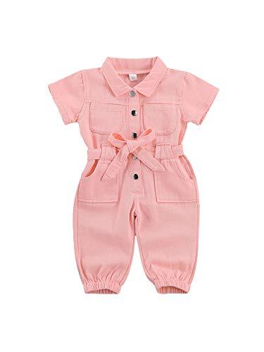 WangsCanis Mono de una pieza para niña de manga corta para bebé, pelele de bolsillo de color liso, sudadera completa de trabajo Rosa 24 meses