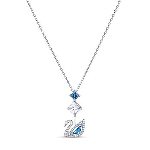 Swarovski Dazzling Swan Halskette, Rhodinierte Damenhalskette mit Schwan-Anhänger und Funkelnden Swarovski Kristallen in Blau und Weiß