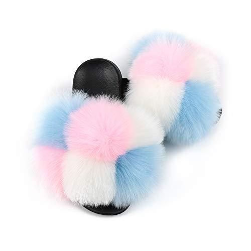 Hiser Zapatillas para Mujer, Arcoiris Color Puntera Abierta Peludas Pantuflas, Piel Sintética Zapatillas de Mujer, Antideslizante Zapato - Interiores y Exteriores (Rosado Azul,EU36-37/250)
