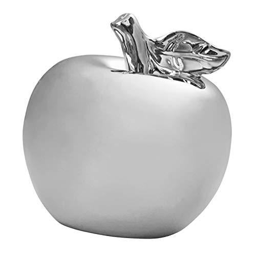 HomeDecTime Chic Keramik Golden & Silber Farbe Äpfel Figur Künstlerische Statue - Silber